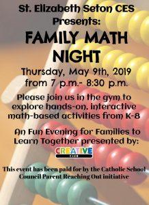 Family Math Night at St. Elizabeth Seton